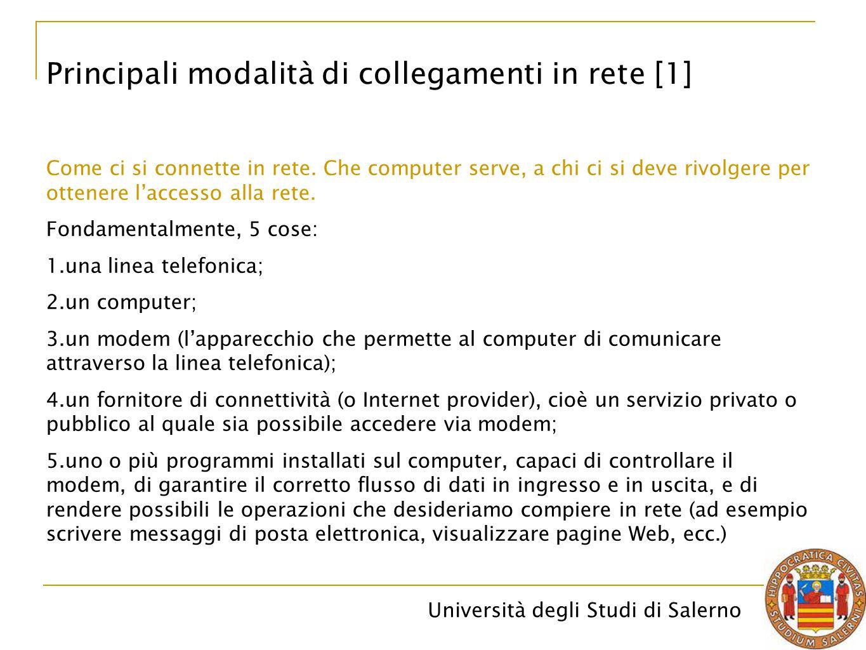 Principali modalità di collegamenti in rete [1]
